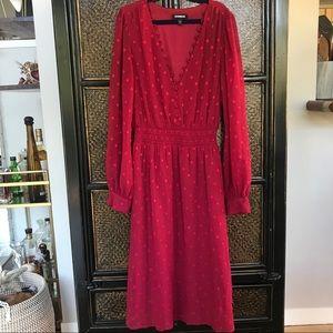 Express Dark Red Chiffon Dress